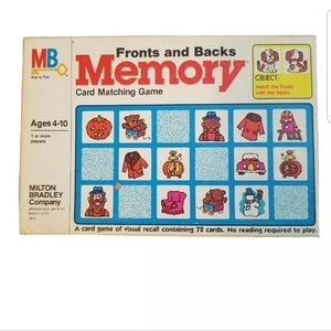 Fronts and Backs Milton Bradley Memory Card Matching Game 1980 Children Learn